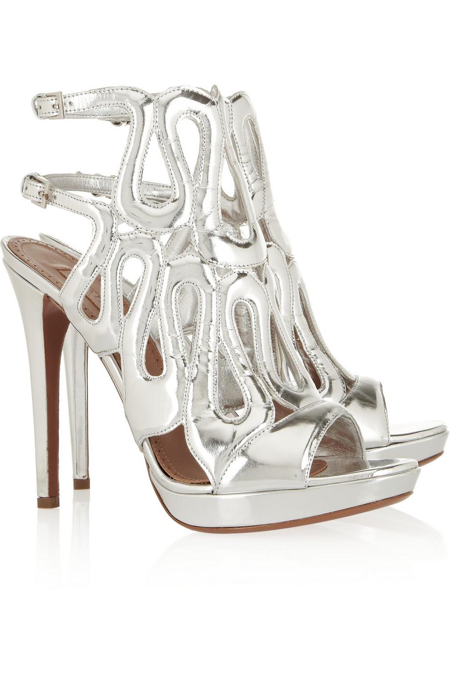 Alaïa Metallic silver leather sandals