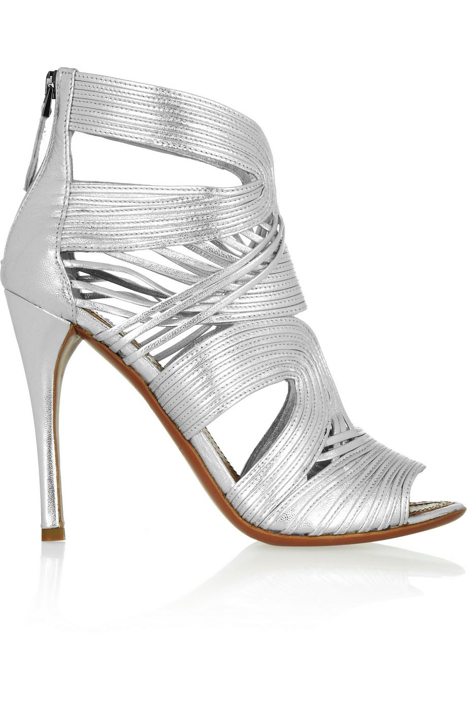 Alaïa Multi-strap metallic leather sandals
