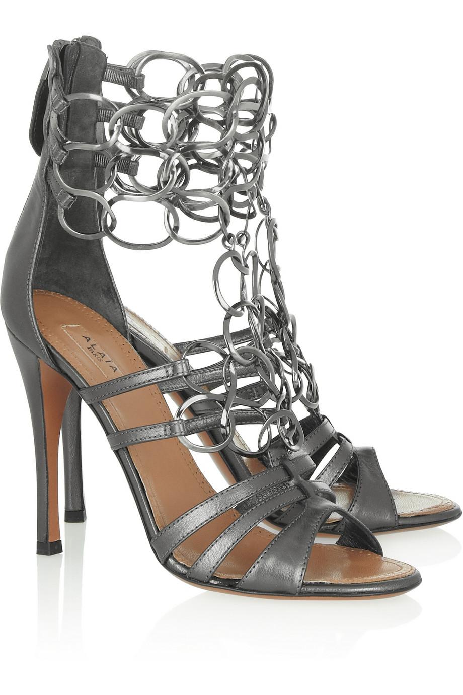 Alaïa metallic leather sandals