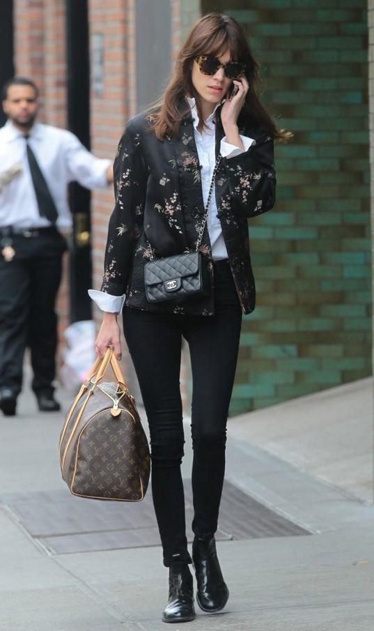 Alexa Chung Floral-print Satin Jacket