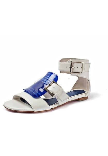 Alexander McQueen White Blue Flats