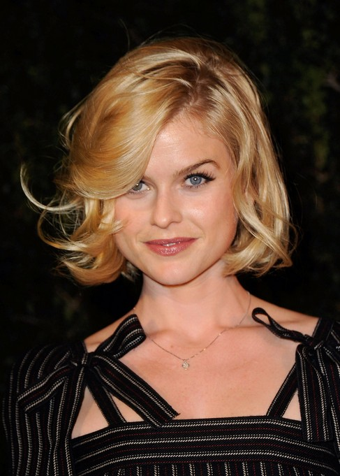 Alice Eve Blonde Bob Hairstyle 2014 - Blonde Bob Cut with Bangs