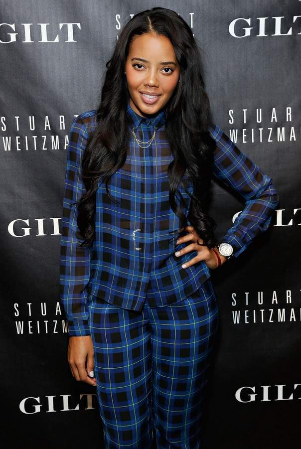 Angela Simmons Plaid Button Down Shirt and Trousers
