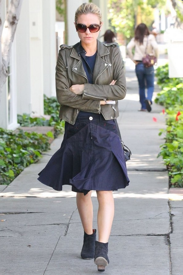 Anna Paquin Pleated Denim Skirt