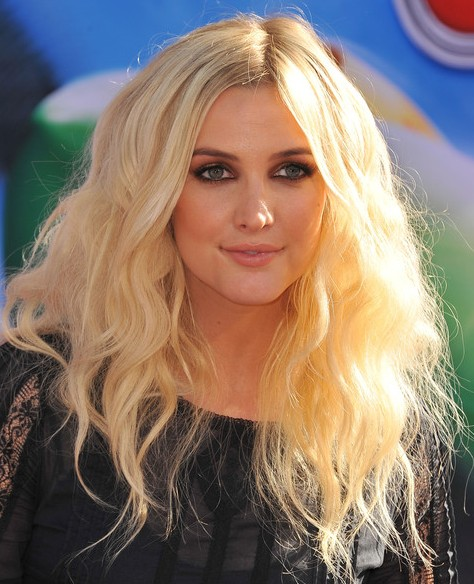 Ashlee Simpson Long Hairstyles 2014: Center Parted Hairstyle