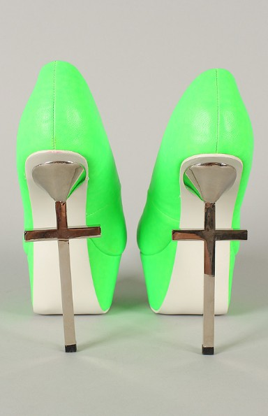 Back View of Privileged Mystery Neon Metallic Cross Platform Pump