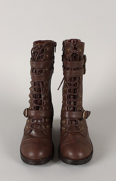 Bamboo Quentin-10 Buckle Lace Up Mid Calf Boot
