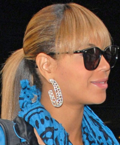 Beyonce Hairstyles: Cute Ponytail with Bangs