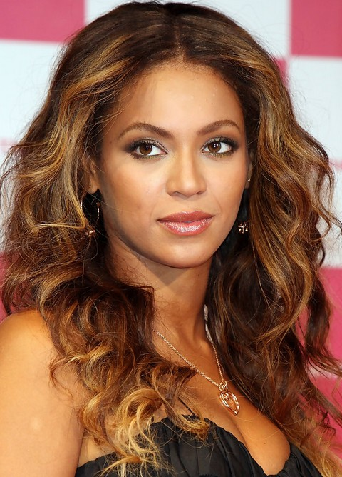Beyonce Long Hairstyles: Radiant Center-parted Wavy Haircut