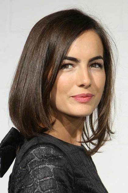 Brunette Shoulder-length Straight Hairstyle for Women 2014