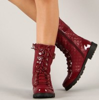 Bumper Finny-06A Quilted Lace Up Mid Calf Boot
