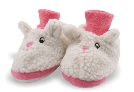 Bunny Rabbit Toddler Sock Top Bootie White and Pink Faux Fur Slippers