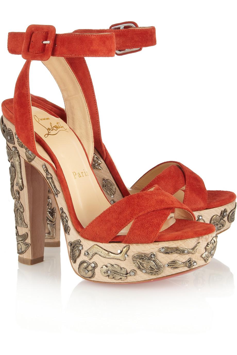 CHRISTIAN LOUBOUTIN Exvota 140 metal-appliquéd suede sandals
