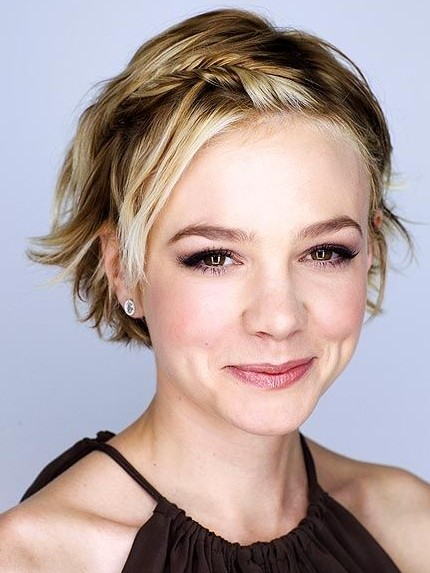 Carey Mulligan's Short Hairstyles: Braided Bangs