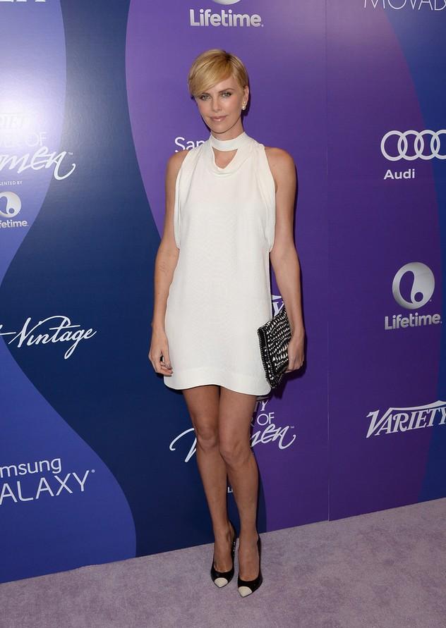Charlize Theron High-neck White Mini Dress by Stella McCartney