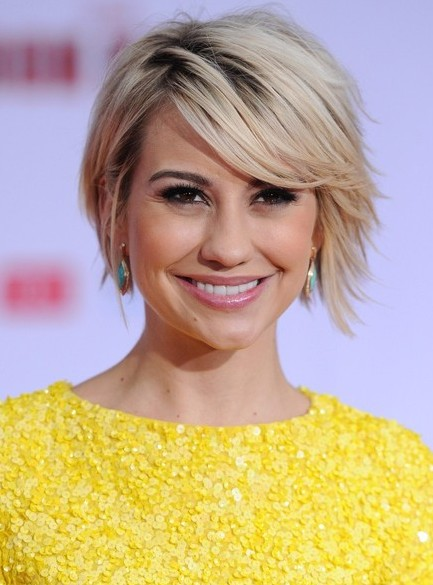 Chelsea Kane Short Hairstyles   Chic Short Sleek Haircut With Side Swept  Bangs