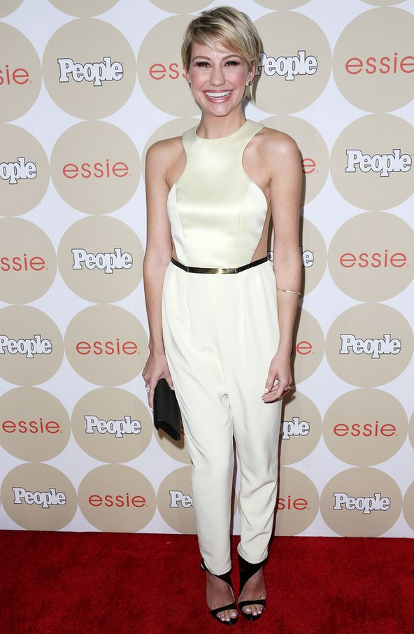 Chelsea Kane Sleeveless White Jumpsuit with See-through Side Panels