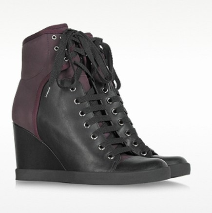 Chloé Black and Burgundy Lace Up Wedge Bootie