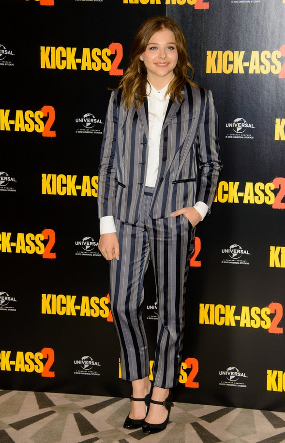 Chloe looked Gray-and-navy Striped Pantsuit by Viktor & Rolf