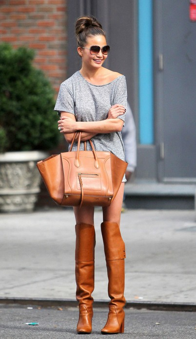 Chrissy Teigen's Brown Knee High Boots