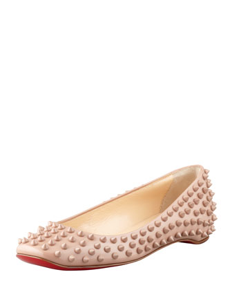 Christian Louboutin Gozul Spiked Patent Leather Flat, Beige