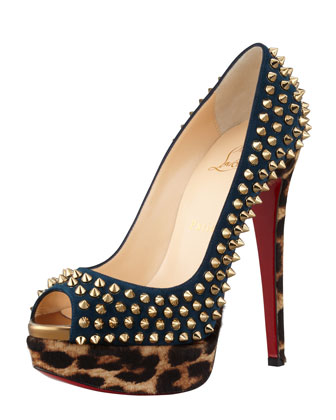 Christian Louboutin Lady Spiked Leopard-Print Platform Pump