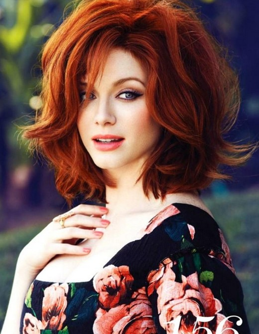 Christina Hendricks' Short Hairstyles: Red Wavy Hair