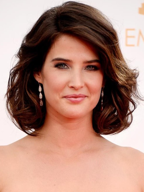 cobie smulders short haircut dark brown curly bob