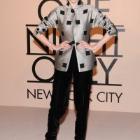 Coco Rocha Classy Silver Armani Jacket with Black Square Accents