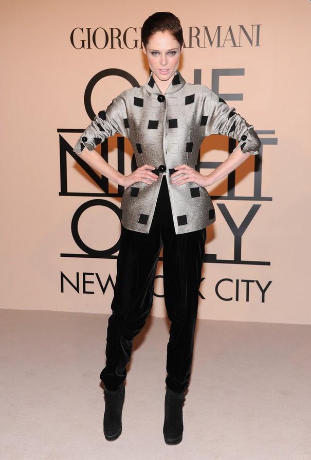 Coco Rocha Classy Silver Armani Jacket with Black Square Accents