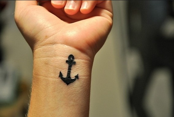 Cute Small Wist Anchor Tattoos