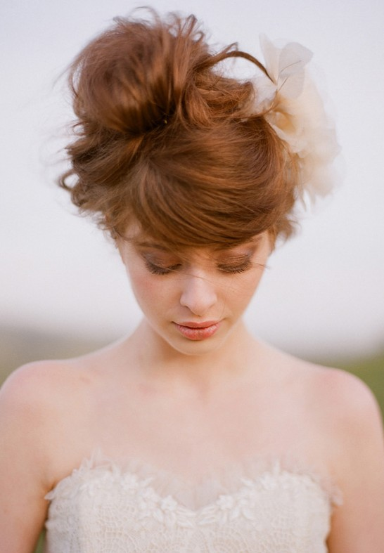 Romantic Wedding Updo Swirly Sophisticated Russet Updo With Bangs