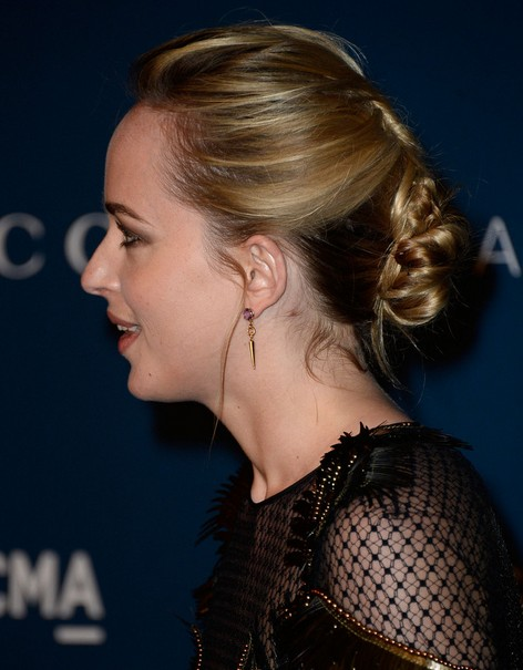 Dakota Johnson Long Hairstyles: Chic Updo for 2014