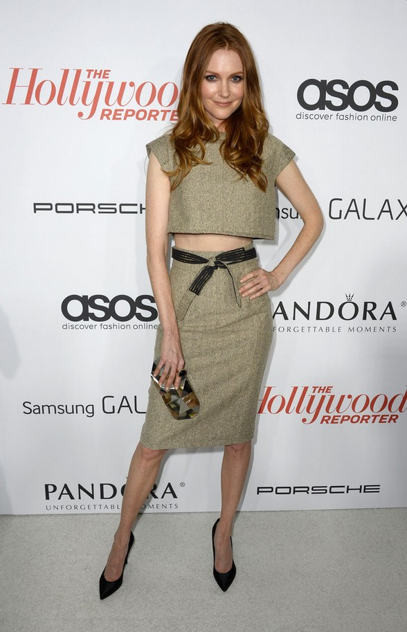Darby Stanchfield Beige Crop Top with a Matching Skirt