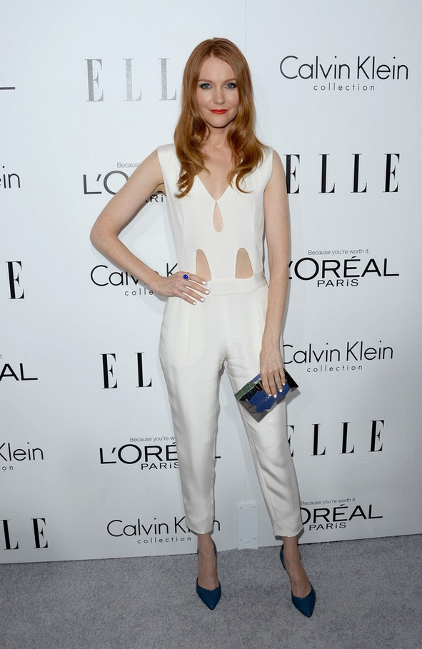 Darby Stanchfield Sleeveless White Jumpsuit with Peekaboo Detailing