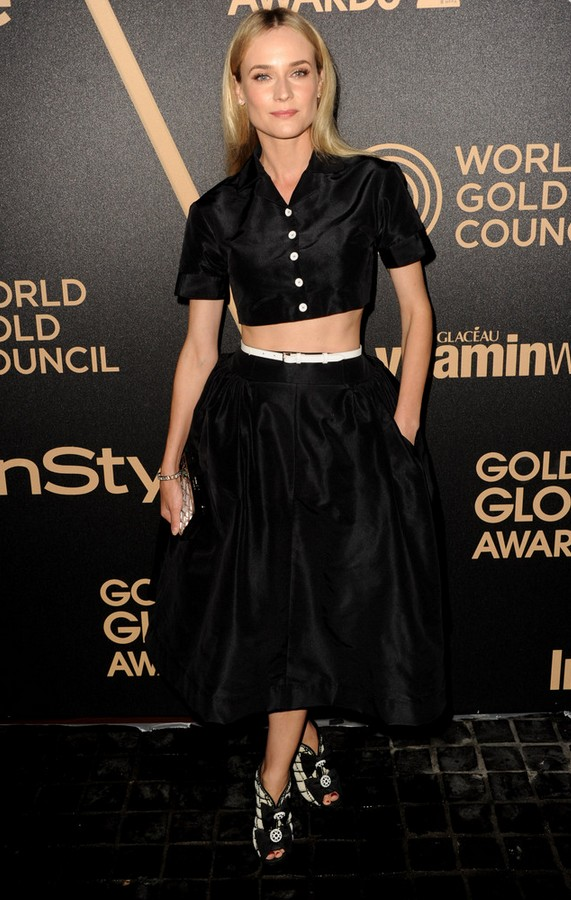 Diane Kruger Crushed Black Velvet Crop Top