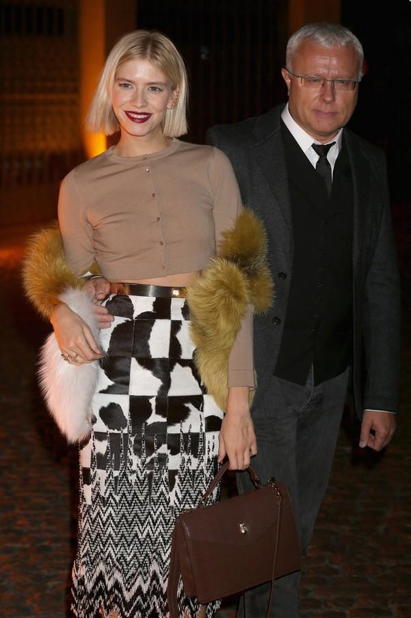 Elena Perminova Beige Crop Top with Black and White Pencil Skirt
