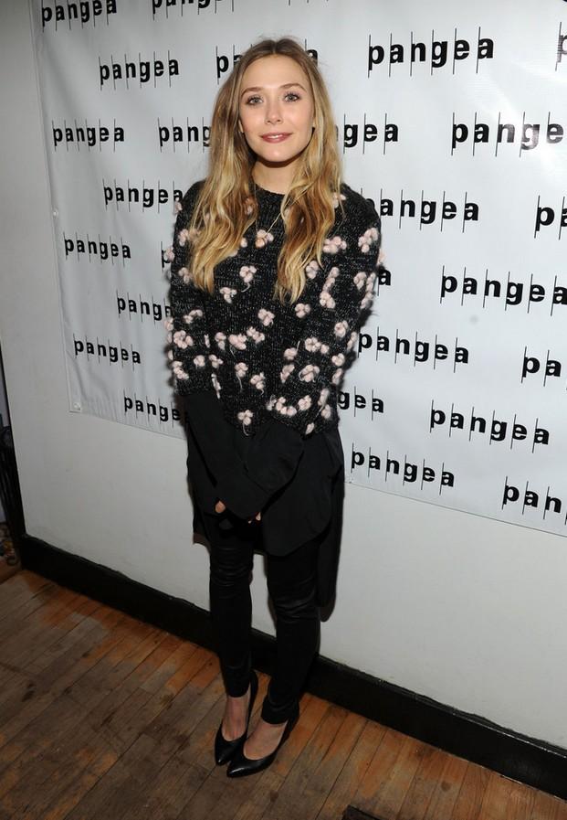 Elizabeth Olsen Embellished Chloe Crewneck Sweater with a High-low Hem