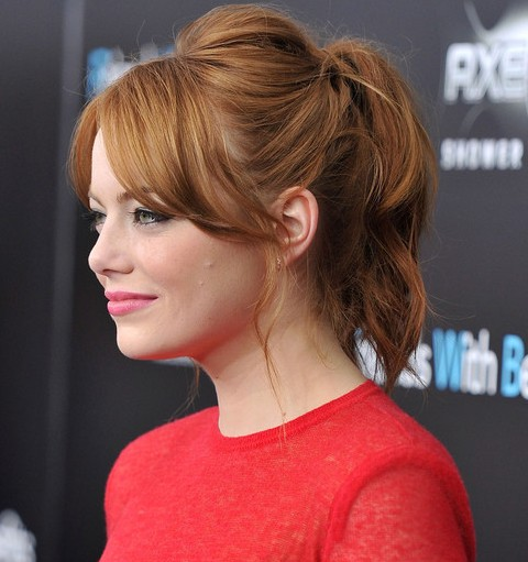 Emma Stone Hairstyles: Beautiful Ponytail with Bangs