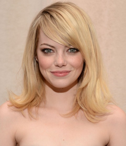 Emma Stone Hairstyles: Textured Long Straight Haircut with Bangs