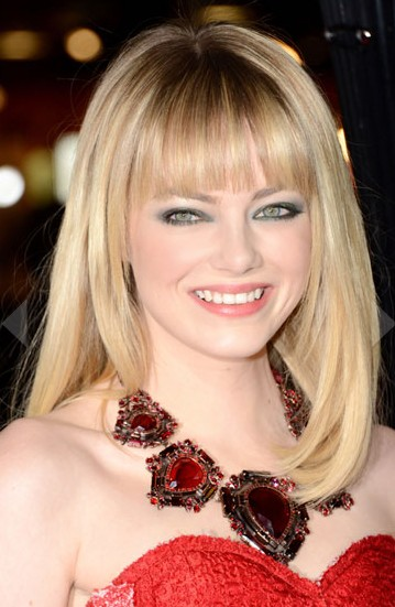 Emma Stone Medium Straight Hairstyle with Blunt Bangs