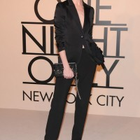 Erin O'Connor Simple Black Pantsuit by Giorgio Armani