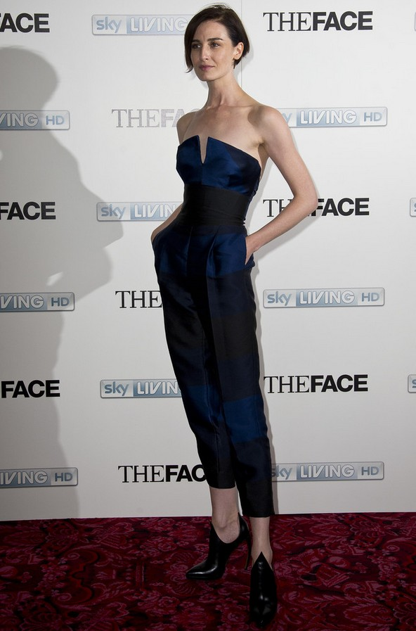 Erin O'Connor Strapless Blue Jumpsuit by Stella McCartney
