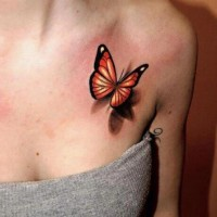 Female 3d Butterfly Tattoo Design