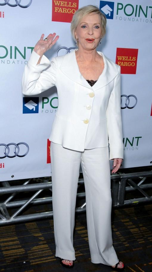Florence Henderson Simple White Pantsuit