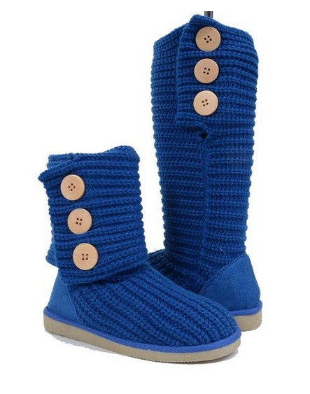 Fold-over Crochet Slouchy Knit Sweater Button Flat Boot Blue