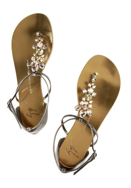 GIUSEPPE ZANOTTI Swarovski crystal-embellished mirrored-leather sandals