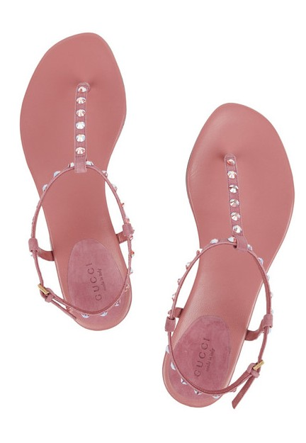 GUCCI Crystal-embellished leather sandals