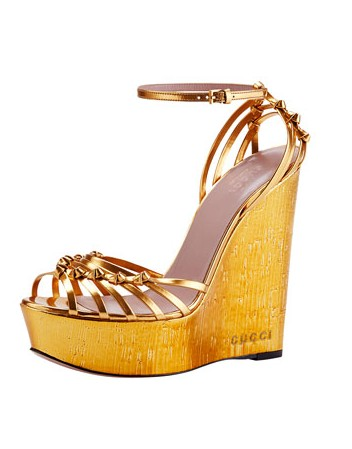 Gucci Alice Metallic Knot Cork Wedge, Gold