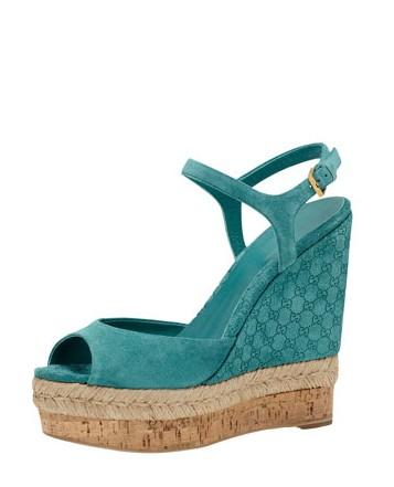 Gucci Suede Wedge Espadrille Sandal, Dark Green